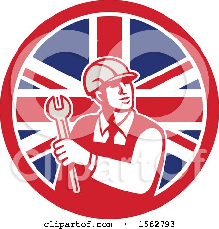 Clipart of a Retro Mechanical Engineer Holding a Spanner Wrench in a Union Jack Flag - Royalty Free Vector Illustration by patrimonio