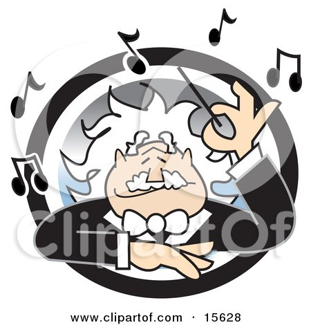 Happy White Haired Music Conductor Surrounded By Music Notes, Waving His Wand Clipart Illustration by Andy Nortnik