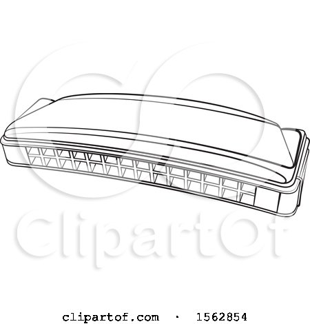 Clipart of a Lineart Mouth Organ Harmonica - Royalty Free Vector Illustration by Lal Perera
