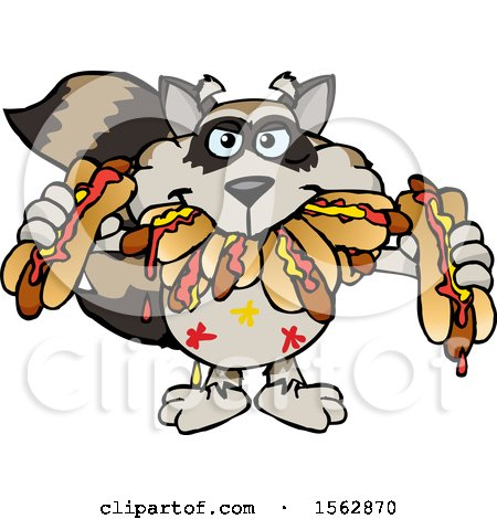 Clipart of a Cartoon Raccoon Shoving Messy Hot Dogs in His Mouth - Royalty Free Vector Illustration by Dennis Holmes Designs