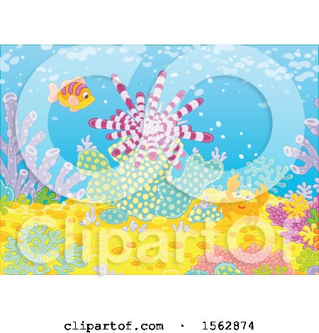 Clipart of a Happy Crab, Fish and Sea Urchin on a Reef - Royalty Free Vector Illustration by Alex Bannykh