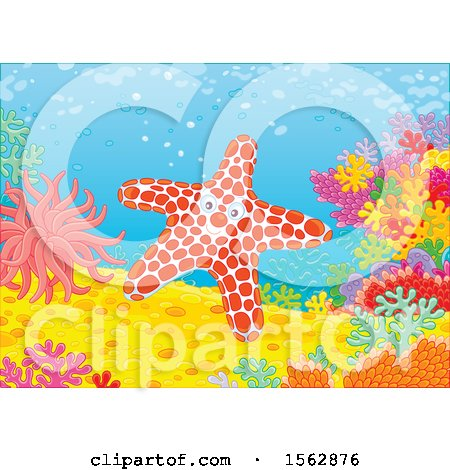 Clipart of a Happy Starfish on a Reef - Royalty Free Vector Illustration by Alex Bannykh