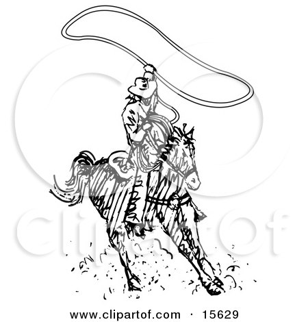 Cowboy Swinging A Lasso While Riding A Horse Clipart Illustration