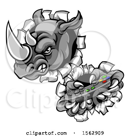 Clipart of a Tough Rhino Monster Mascot Holding a Video Game Controller and Breaking Through a Wall - Royalty Free Vector Illustration by AtStockIllustration