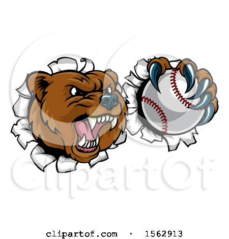 Clipart of a Bear Sports Mascot Breaking Through a Wall with a Baseball in a Paw - Royalty Free Vector Illustration by AtStockIllustration