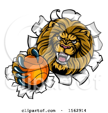Clipart of a Tough Lion Sports Mascot Holding out a Basketball and Breaking Through a Wall - Royalty Free Vector Illustration by AtStockIllustration