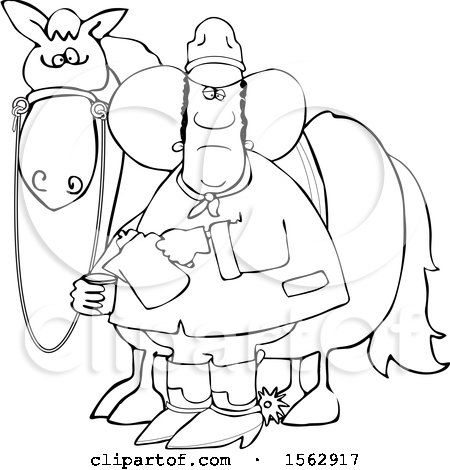 Clipart of a Lineart Black Cowboy Pouring a Cup of Coffee by a Horse - Royalty Free Vector Illustration by djart