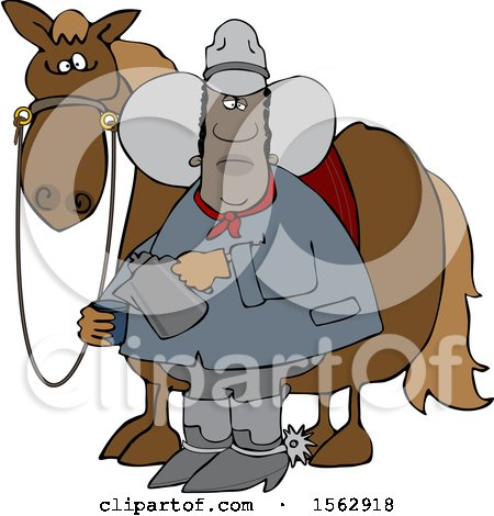 Clipart of a Black Cowboy Pouring a Cup of Coffee by a Horse - Royalty Free Vector Illustration by djart
