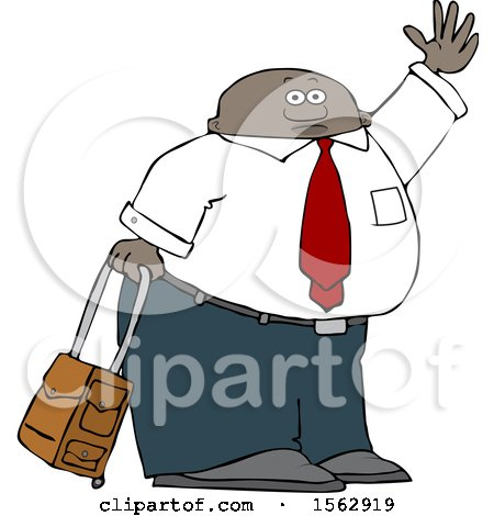 Clipart of a Traveling Black Business Man with Rolling Luggage, Waving Goodbye or Hailing a Taxi Cab - Royalty Free Vector Illustration by djart