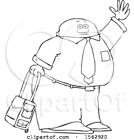 Clipart of a Lineart Traveling Black Business Man with Rolling Luggage, Waving Goodbye or Hailing a Taxi Cab - Royalty Free Vector Illustration by djart