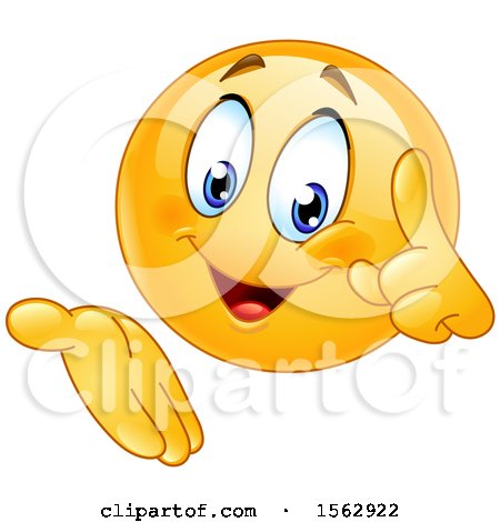 Clipart of a Yellow Emoji Holding up a Finger and Gesturing - Royalty Free Vector Illustration by yayayoyo
