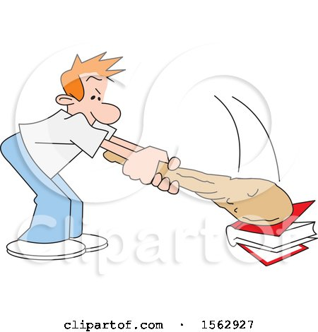 Clipart of a Caucasian Man Banging a Club on a Book - Royalty Free Vector Illustration by Johnny Sajem