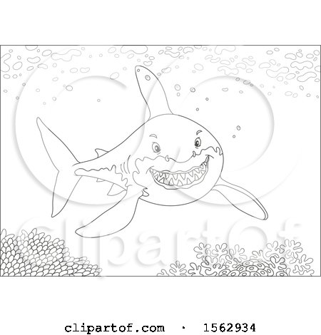 Clipart of a Lineart Great White Shark over a Reef - Royalty Free Vector Illustration by Alex Bannykh