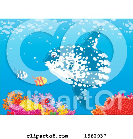 Clipart of a Moonfish and Others over a Reef - Royalty Free Vector Illustration by Alex Bannykh