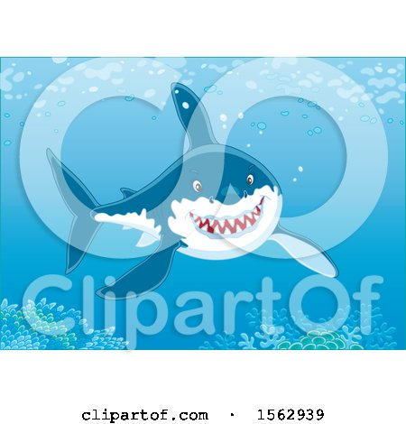 Clipart of a Grinning Great White Shark over a Reef - Royalty Free Vector Illustration by Alex Bannykh