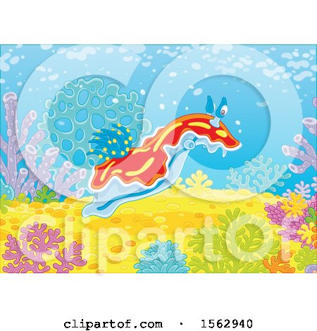 Clipart of a Sea Slug Nudibranchs on a Reef - Royalty Free Vector Illustration by Alex Bannykh