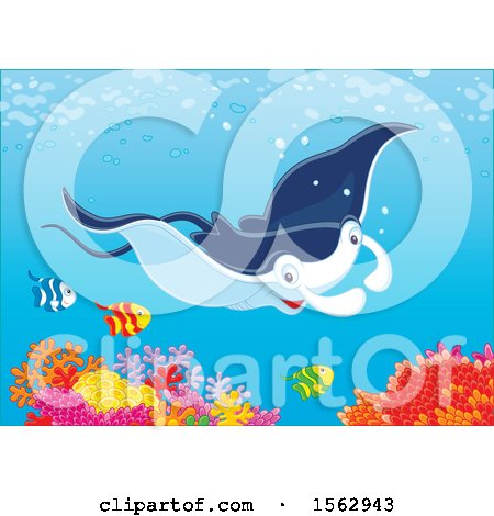 Clipart of a Cute Stingray and Fish over a Reef - Royalty Free Vector Illustration by Alex Bannykh