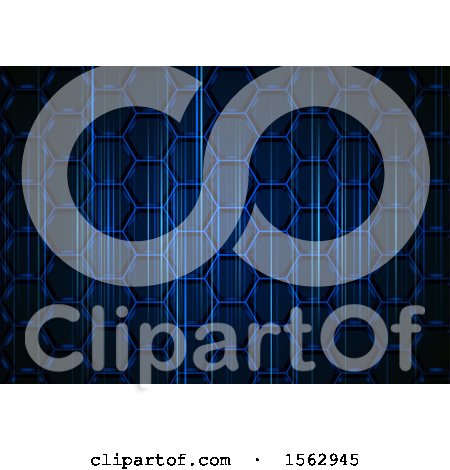 Clipart of a Blue Honeycomb Abstract Background - Royalty Free Vector Illustration by dero