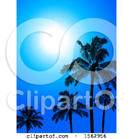Clipart of a Sunny Blue Sky With Silhouetted Palm Trees- Royalty Free Vector Illustration by elaineitalia