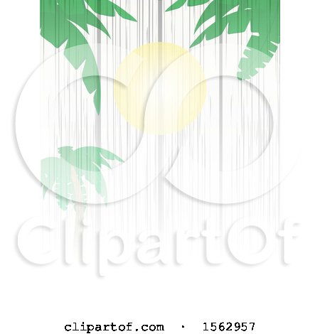Clipart of a White Wood Background with a Sun and Palm Trees - Royalty Free Vector Illustration by elaineitalia