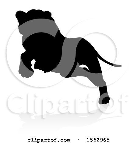 Clipart of a Silhouetted Lioness Pouncing, with a Shadow on a White Background - Royalty Free Vector Illustration by AtStockIllustration