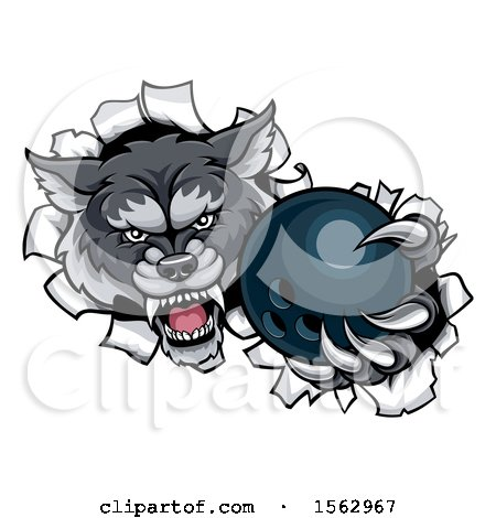 Clipart of a Tough Wolf Mascot Holding out a Bowling Ball in One Clawed Paw - Royalty Free Vector Illustration by AtStockIllustration
