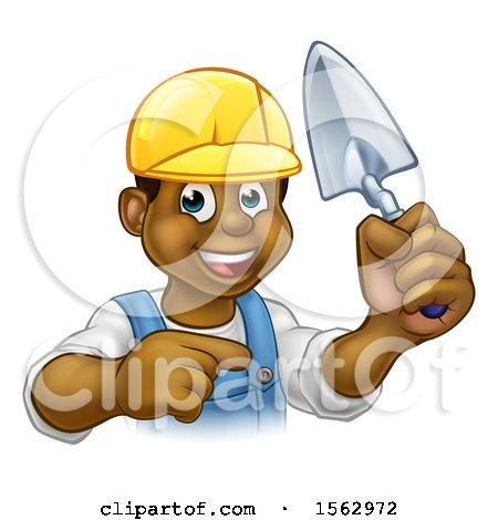 Clipart of a Black Male Mason Worker Holding a Trowel and Pointing - Royalty Free Vector Illustration by AtStockIllustration