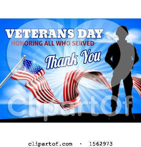 Clipart of a Black Silhouetted Soldier with an American Flag and Sky, with Text - Royalty Free Vector Illustration by AtStockIllustration