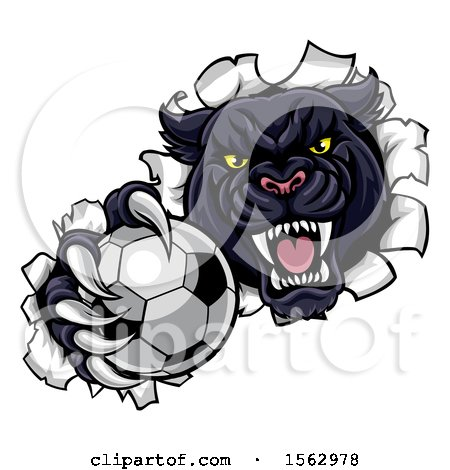 Clipart of a Black Panther Mascot Breaking Through a Wall with a Soccer Ball - Royalty Free Vector Illustration by AtStockIllustration