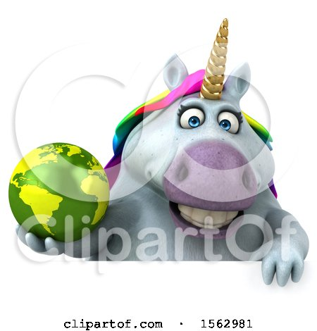 Clipart of a 3d Unicorn Holding a Globe, on a White Background - Royalty Free Illustration by Julos