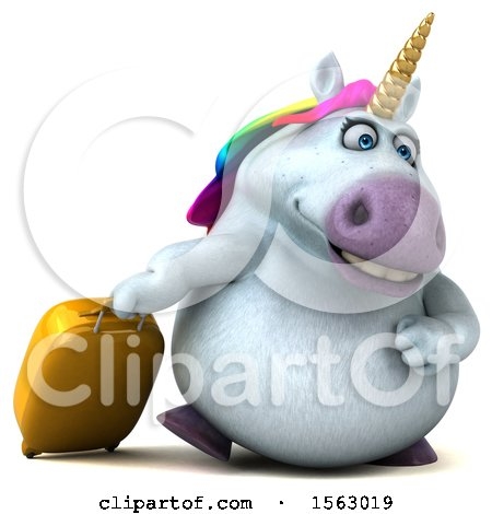 Clipart of a 3d Chubby Unicorn Traveling, on a White Background - Royalty Free Illustration by Julos
