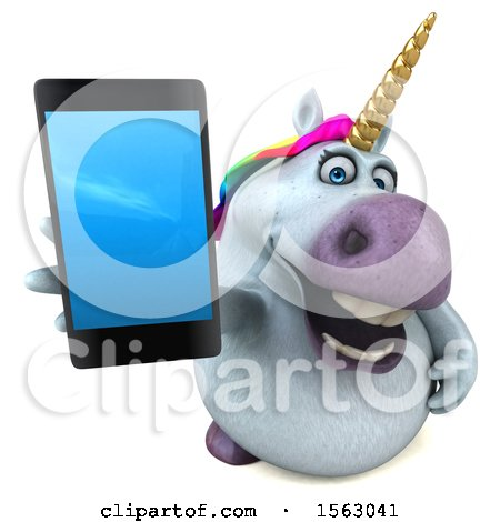 Clipart of a 3d Chubby Unicorn Holding a Smart Phone, on a White Background - Royalty Free Illustration by Julos
