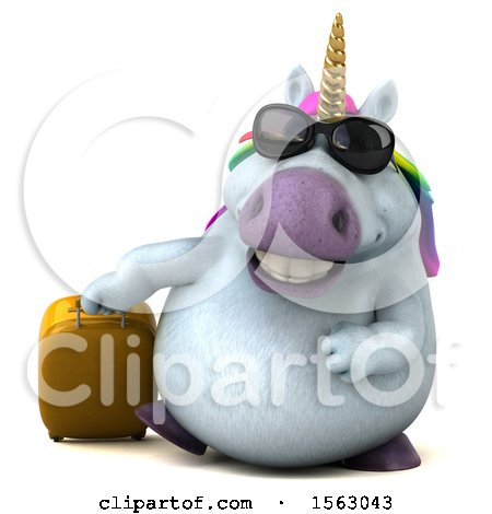 Clipart of a 3d Unicorn Traveler, on a White Background - Royalty Free Illustration by Julos