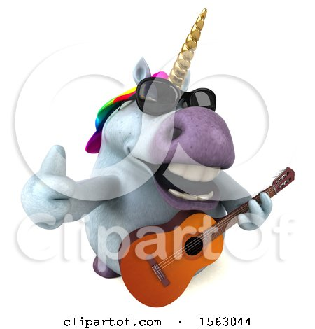 Clipart of a 3d Chubby Unicorn Holding a Guitar, on a White Background - Royalty Free Illustration by Julos