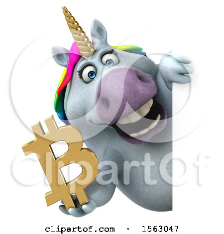 Clipart of a 3d Chubby Unicorn Holding a Bitcoin Symbol, on a White Background - Royalty Free Illustration by Julos
