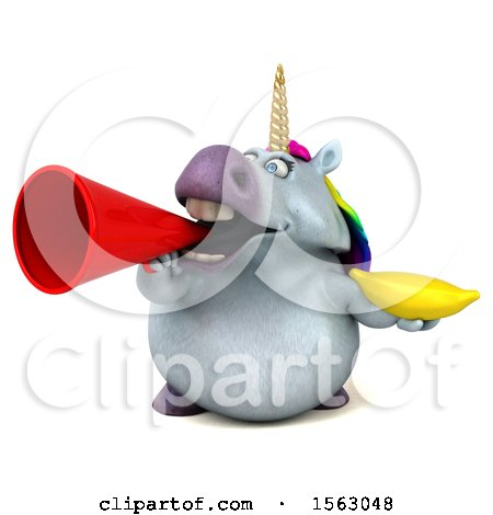 Clipart of a 3d Chubby Unicorn Holding a Banana, on a White Background - Royalty Free Illustration by Julos