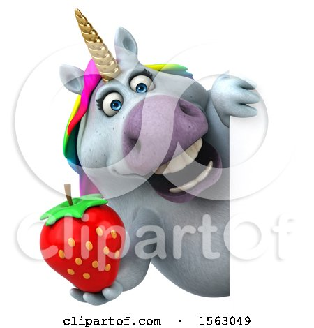 Clipart of a 3d Chubby Unicorn Holding a Strawberry, on a White Background - Royalty Free Illustration by Julos