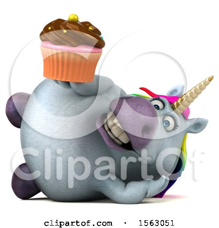 Clipart of a 3d Chubby Unicorn Holding a Cupcake, on a White Background - Royalty Free Illustration by Julos