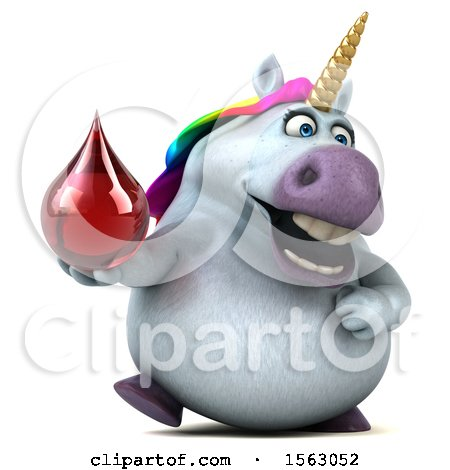 Clipart of a 3d Unicorn Holding a Blood Drop, on a White Background - Royalty Free Illustration by Julos