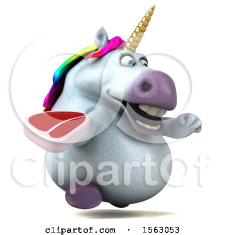 Clipart of a 3d Chubby Unicorn Holding a Steak, on a White Background - Royalty Free Illustration by Julos