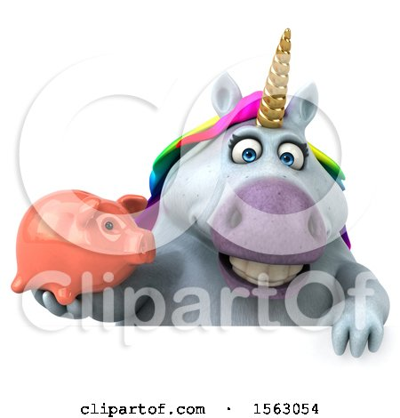 Clipart of a 3d Chubby Unicorn Holding a Piggy Bank, on a White Background - Royalty Free Illustration by Julos