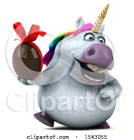 Clipart of a 3d Unicorn Holding a Chocolate Egg, on a White Background - Royalty Free Illustration by Julos