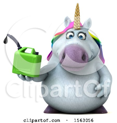 Clipart of a 3d Unicorn Holding a Gas Can, on a White Background - Royalty Free Illustration by Julos