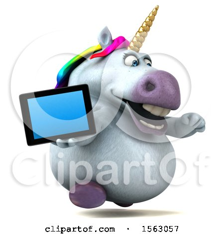 Clipart of a 3d Chubby Unicorn Holding a Tablet, on a White Background - Royalty Free Illustration by Julos