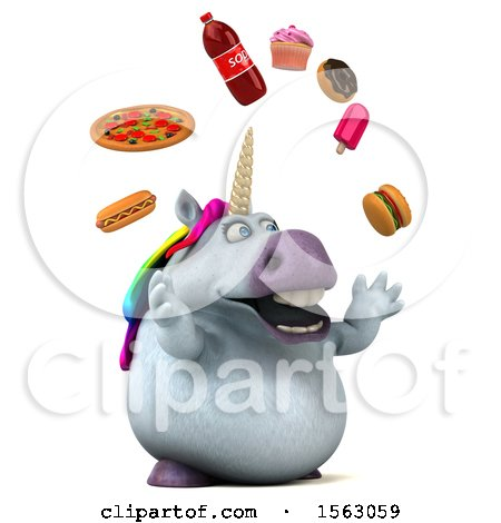 Clipart of a 3d Chubby Unicorn Juggling Junk Food, on a White Background - Royalty Free Illustration by Julos