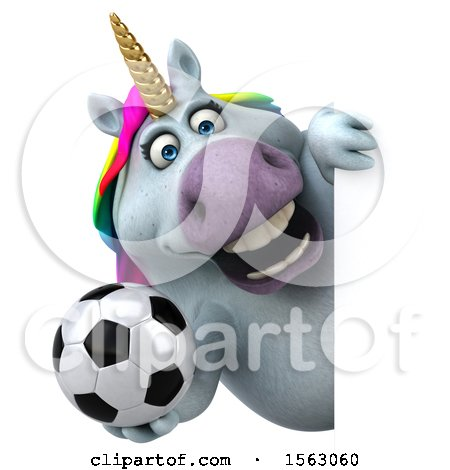 Clipart of a 3d Chubby Unicorn Holding a Soccer Ball, on a White Background - Royalty Free Illustration by Julos