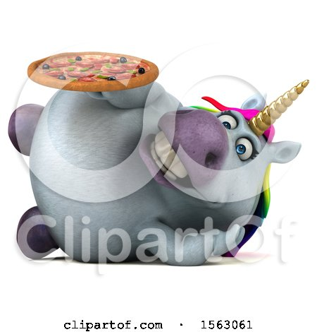 Clipart of a 3d Chubby Unicorn Holding a Pizza, on a White Background - Royalty Free Illustration by Julos