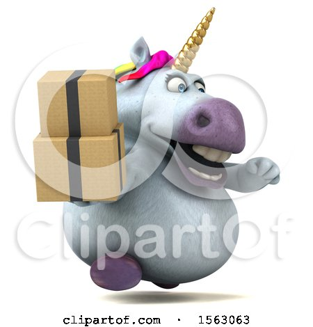 Clipart of a 3d Chubby Unicorn Holding Boxes, on a White Background - Royalty Free Illustration by Julos