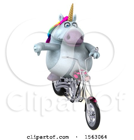 Clipart of a 3d Unicorn Biker Riding a Chopper Motorcycle, on a White Background - Royalty Free Illustration by Julos