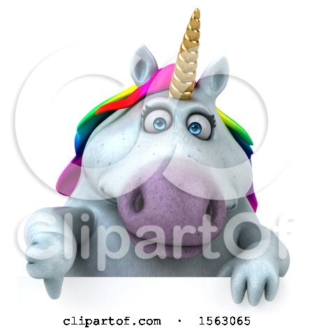 Clipart of a 3d Chubby Unicorn Holding a Thumb Down, on a White Background - Royalty Free Illustration by Julos